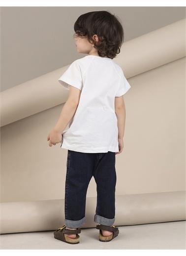 Ollie & olla Pat Detaylı Beyaz Erkek T-Shirt Beyaz